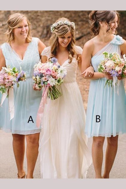 A-line V-neck Chiffon Knee-length Bridesmaid Dress - Bridesmaid Dresses