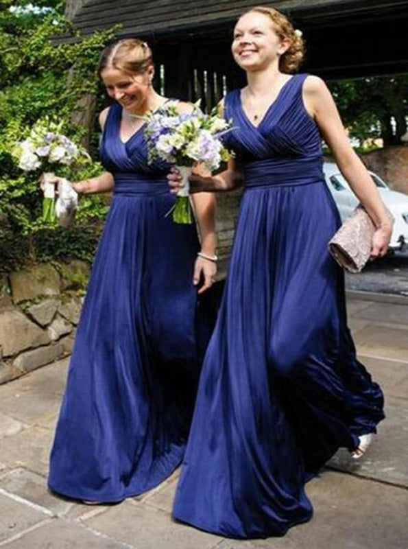 A-Line V-Neck Floor-Length Royal Blue Ruched Chiffon Bridesmaid Dress - Bridesmaid Dresses