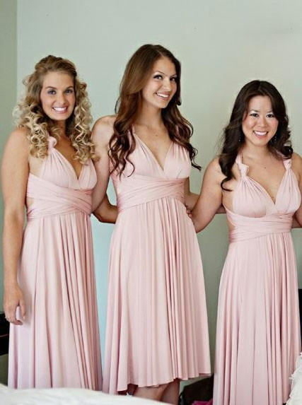 A-Line V-Neck Knee Length Pink Satin Bridesmaid Dress - Bridesmaid Dresses