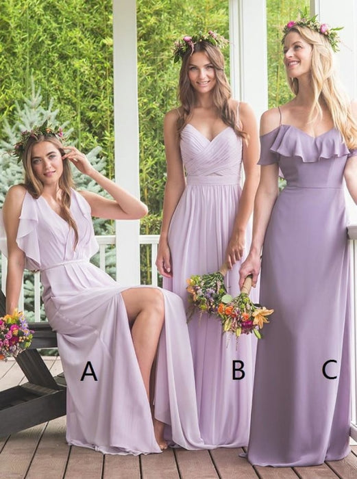 A-Line V-Neck Lavender Chiffon Bridesmaid Dress - Bridesmaid Dresses