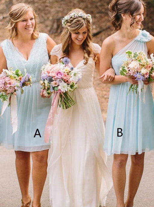 A-Line V-Neck Light Bue Short Chiffon Bridesmaid Dress - Bridesmaid Dresses