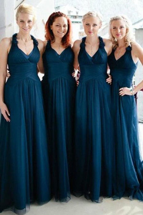 A-Line V-Neck Long Ruched Tulle Bridesmaid Dress - Bridesmaid Dresses
