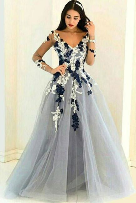 A-line V-neck Long Sleeves Tulle Dress with Appliques Cheap Prom Gown - Prom Dresses