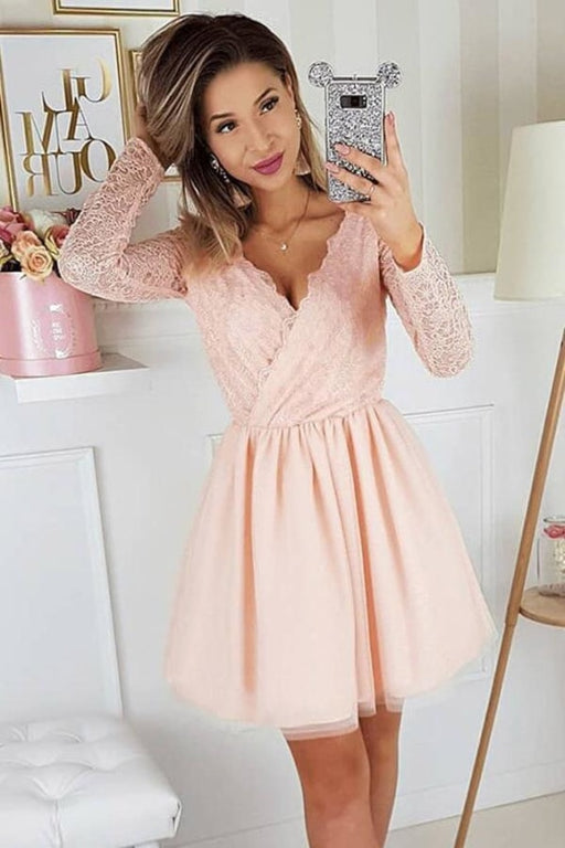A-Line V-Neck Pink Long Sleeves Tulle Homecoming Dress with Lace - Prom Dresses