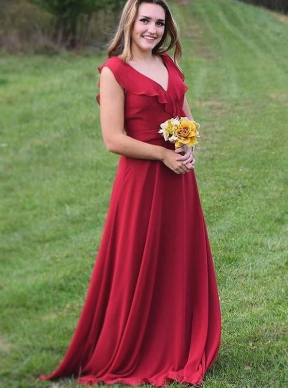 A-Line V-Neck Red Chiffon with Ruffles Bridesmaid Dress - Bridesmaid Dresses