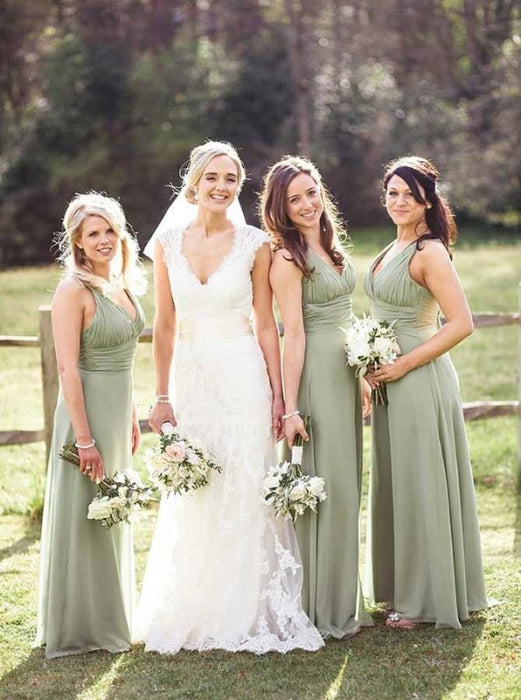 A-Line V-Neck Ruched Green Chiffon Bridesmaid Dress - Bridesmaid Dresses