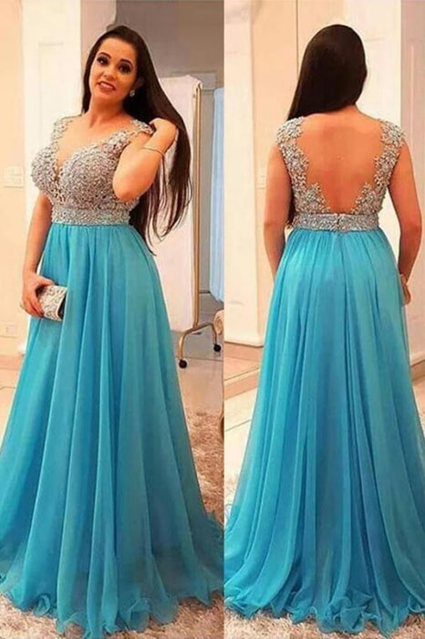 A-Line V-neck Sleeveless Beading Brush Train Chiffon Plus Size Prom Dresses - Prom Dresses