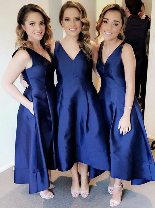 A-Line V-Neck Sleeveless High Low Satin Bridesmaid Dress - Bridesmaid Dresses