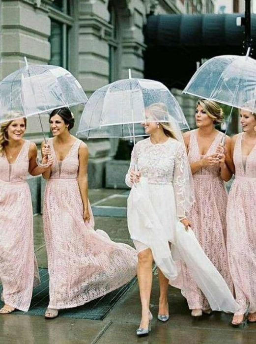 A-Line V-Neck Sleeveless Lace Pink Lace Bridesmaid Dress - Bridesmaid Dresses