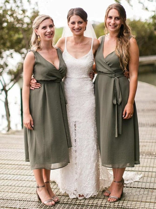 A-Line V-Neck Tea-Length Green Chiffon Bridesmaid Dress - Bridesmaid Dresses