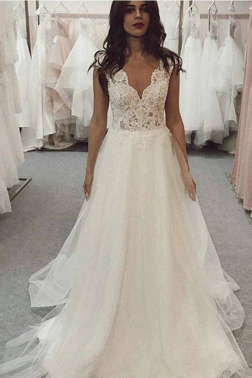 A Line V Neck Tulle Beach with Ivory Lace Top Long Wedding Dress - Wedding Dresses