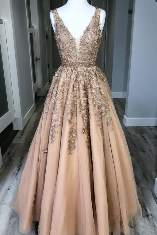 A Line V Neck Tulle Lace Applique Prom with Beading Waist Puffy Party Dress - Prom Dresses