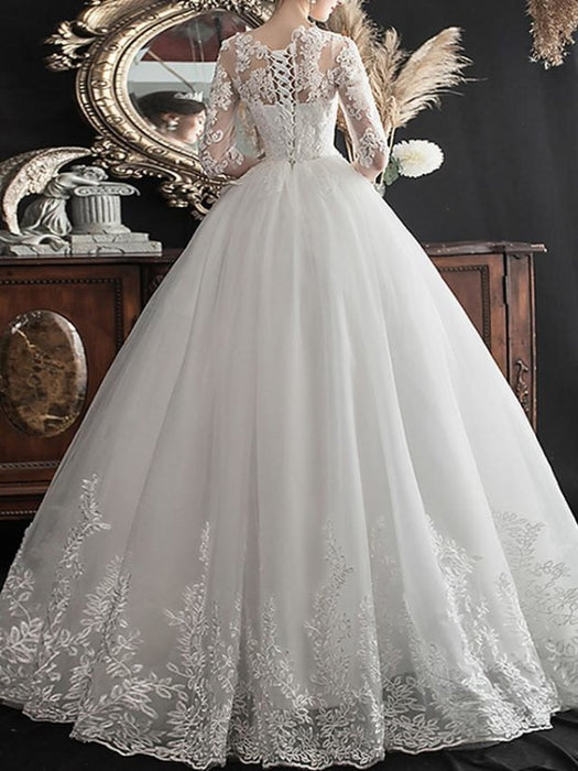 A-Line Wedding Dresses Jewel Neck Sweep \ Brush Train Lace Half Sleeve Glamorous See-Through Illusion Sleeve with Lace Insert Appliques 2020