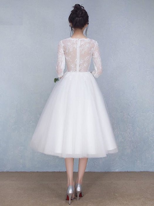 A-Line Wedding Dresses Jewel Neck Tea Length Tulle Sheer Lace 3\4 Length Sleeve Casual See-Through Backless with Beading Appliques 2020 -