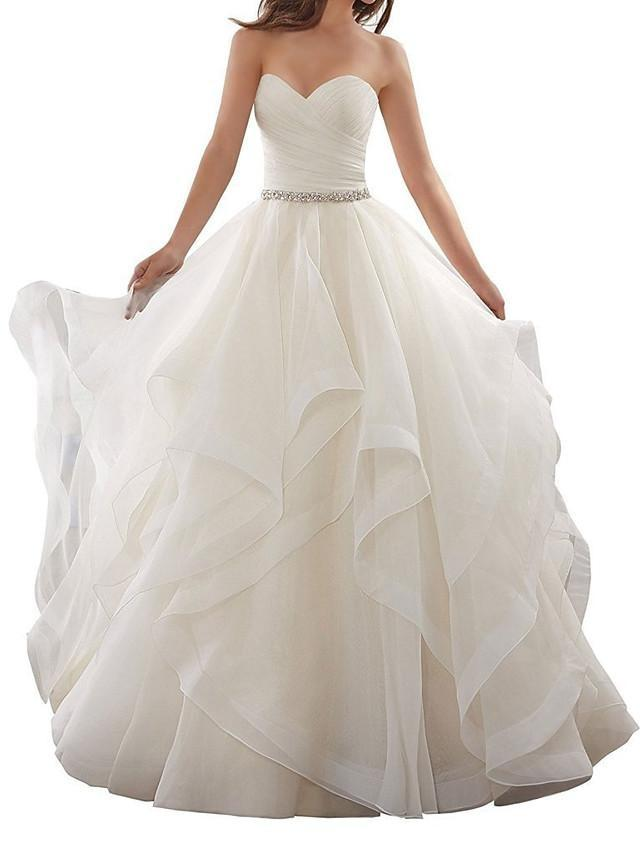 A-Line Wedding Dresses Sweetheart Neckline Chapel Train Organza Strapless Plus Size - wedding dresses