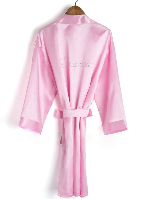 A| Personalized Rhinestone Bridesmaid & Bridal Robes - S / Candy Pink - robes