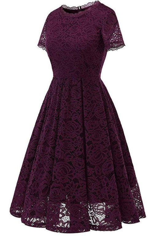 AA| Bridelily Womens Bridesmaid Street Dress Floral Lace Formal Swing Dress - lace dresses