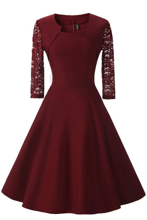 AA| Bridelily Womens Floral Lace Short Homecoming Dress - S / Burgundy - lace dresses