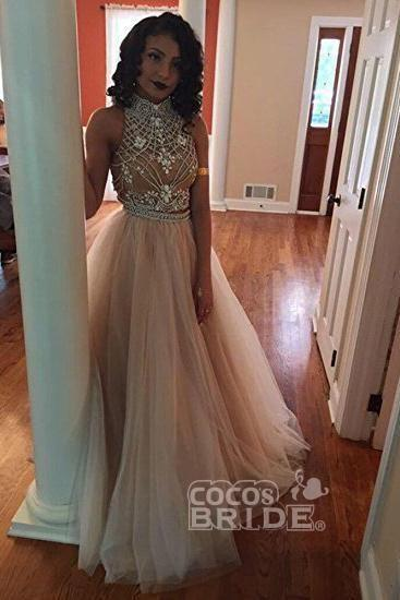 Affordable Beautiful Two Piece A-Line Ivory Sleeveless High Neck Tulle Beading Long Prom Dresses - Prom Dresses