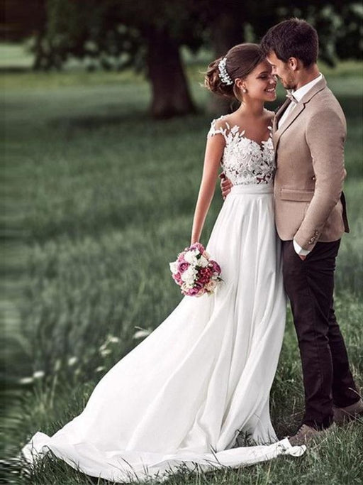 Affordable Cap Sleeves Lace Covered Button Wedding Dresses - wedding dresses
