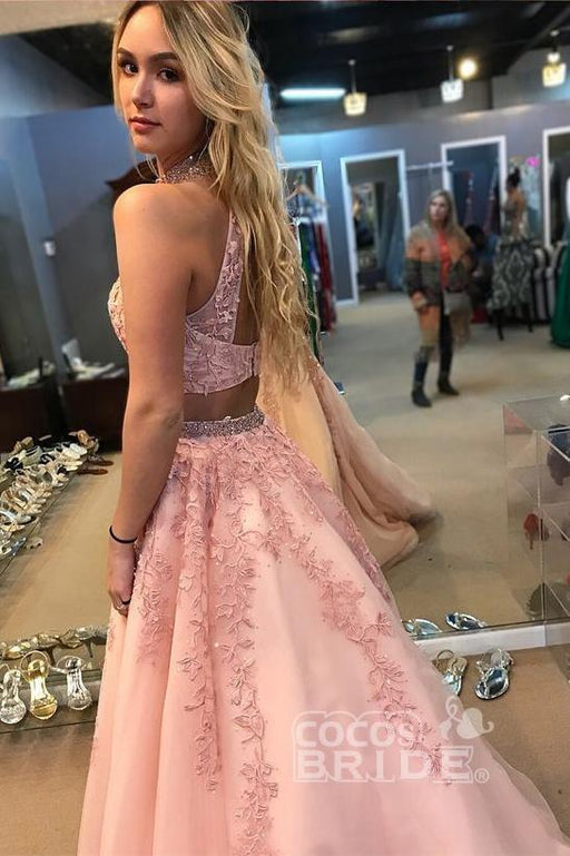 Affordable Elegant Two Piece Pink High Neck A Line Tulle Appliqued Prom Dress with Beading - Prom Dresses