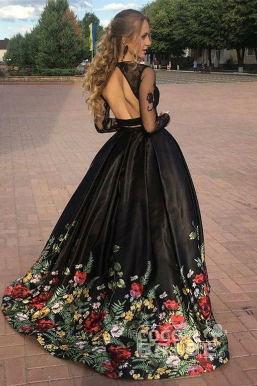 Affordable Precious Latest Two Piece Black Sleeve Formal Appliques Long Prom Dress with Lace - Prom Dresses