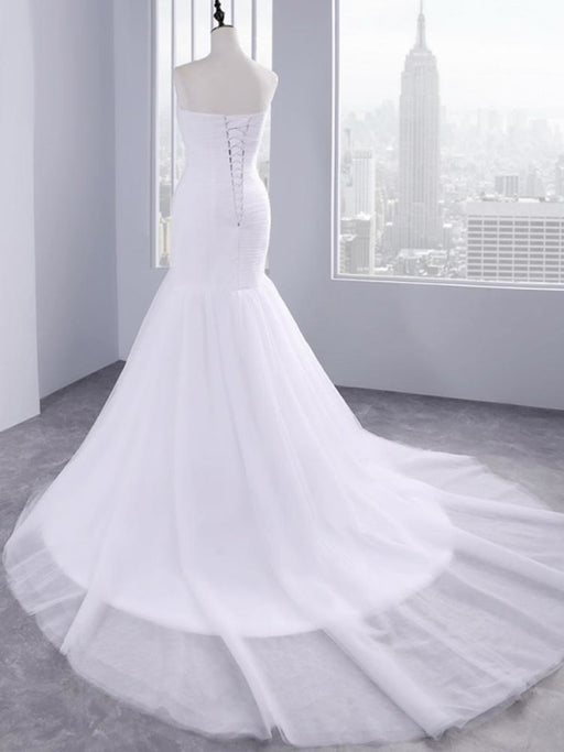 Affordable Ruffle Tulle Strapless Mermaid Wedding Dresses - wedding dresses