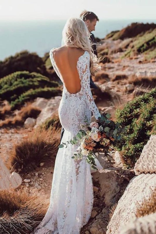 All Lace Style Long Sleeve Floor Length Boho Wedding Dresses - Ivory - wedding dresses