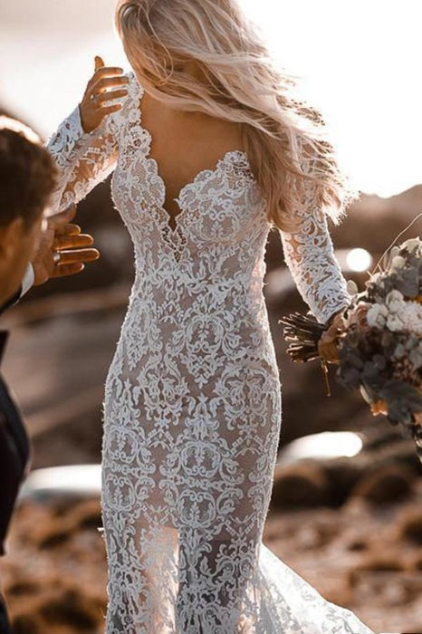 All Lace Style Long Sleeve Floor Length Boho Wedding Dresses - wedding dresses