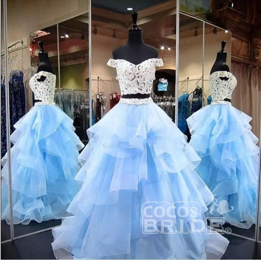 Amazing Elegant Two Piece Off-the-Shoulder Tiered Blue Tulle Long Prom Dress with Lace - Prom Dresses