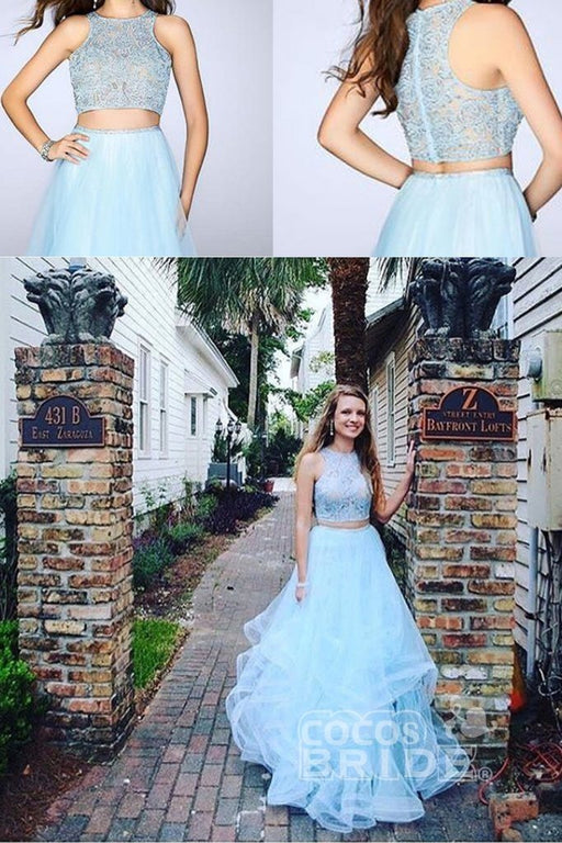 Amazing Exquisite Two Pieces Blue Lace Round Neck Sleeveless A-line For Teens Prom Gown Dresses - Prom Dresses