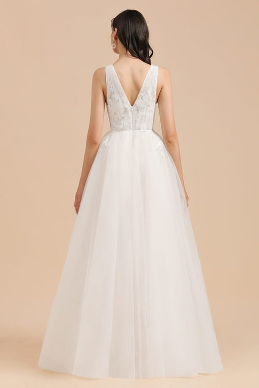 Amazing Illusion Lace Tulle A-line Wedding Dress - Wedding Dresses