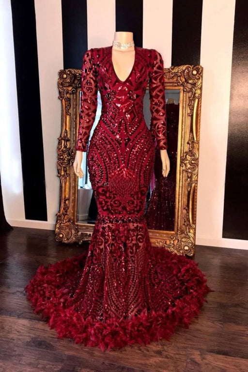 Amazing Sequins V-neck Long Sleeve Mermaid Prom Dresses - Prom Dresses