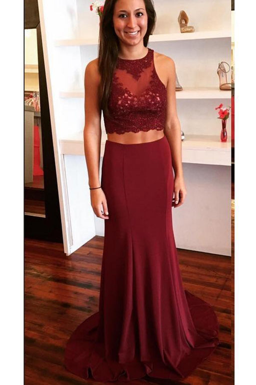 Amazing Wonderful Burgundy Two Piece Open Back Prom with Lace Sweep Train Evening Dress - Prom Dresses