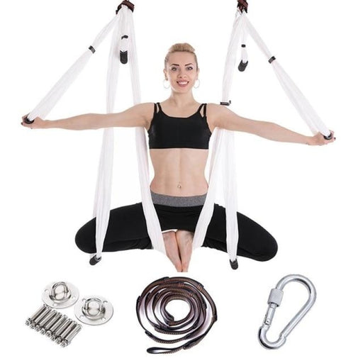 Anti-Gravity Yoga Hammock Flying Swing Aerial Traction Device Yoga Hammock Set Home Gym Hanging Belt - White set 691 - yoga belts
