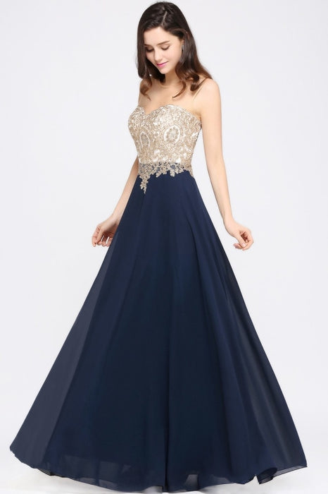 Appliques Cheap Long Prom Dresses Dusty Rose Evening Party Gown - Dark Navy / US 2 - Prom Dress