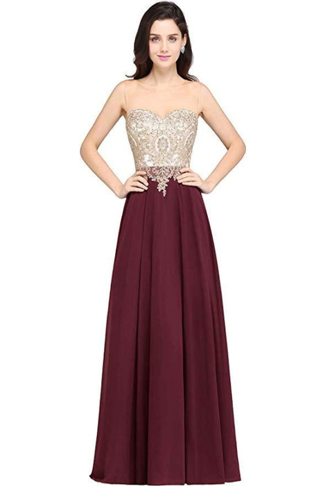 Appliques Cheap Long Prom Dresses Dusty Rose Evening Party Gown - Burgundy / US 2 - Prom Dress