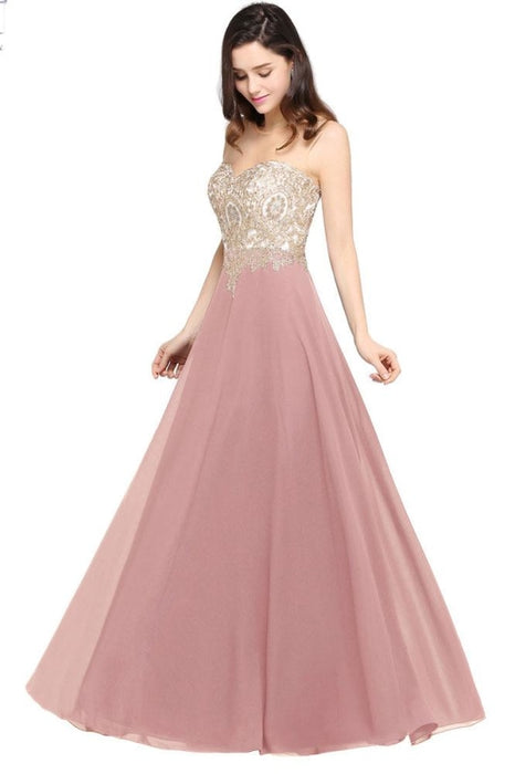 Appliques Cheap Long Prom Dresses Dusty Rose Evening Party Gown - Prom Dress