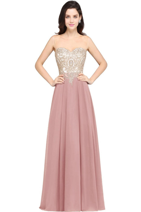 Appliques Cheap Long Prom Dresses Dusty Rose Evening Party Gown - Dusty Rose / US 2 - Prom Dress