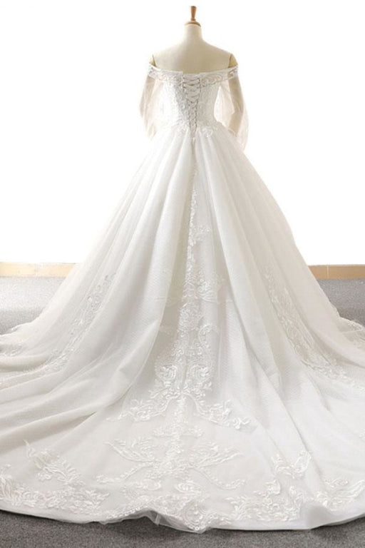 Appliques Long Sleeve Off Shoulder Wedding Dress - Wedding Dresses
