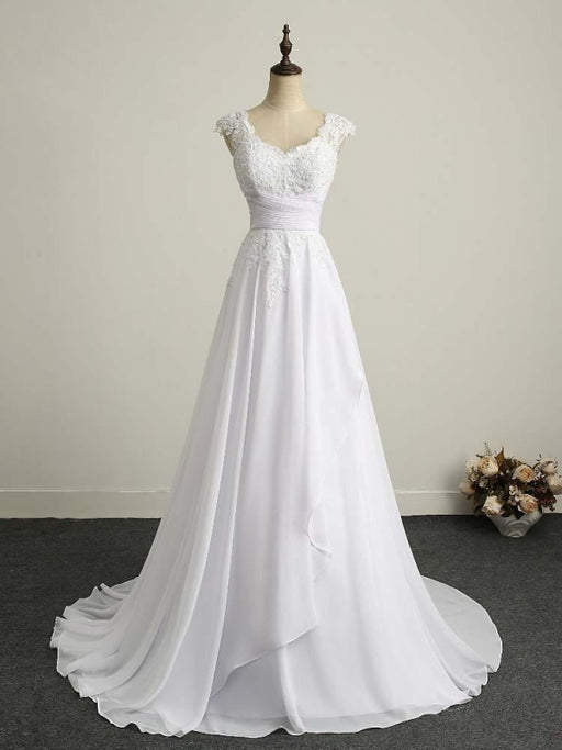Appliques V-Neck Lace-Up Chiffon Wedding Dresses - wedding dresses