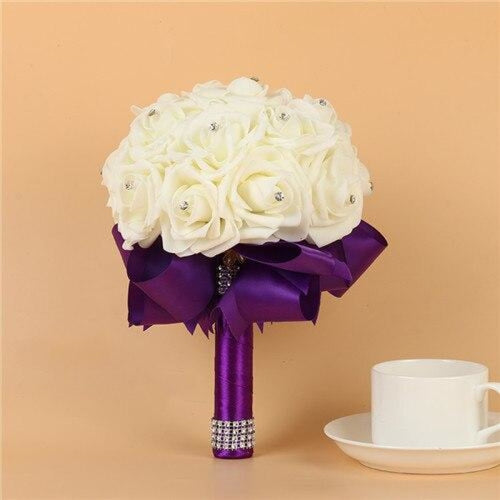 Artificial Flower Crystals Wedding Bouquets | Bridelily - Purple - wedding flowers