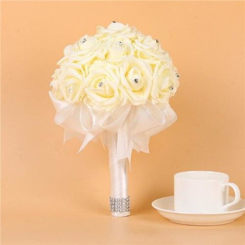 Artificial Flower Crystals Wedding Bouquets | Bridelily - White - wedding flowers