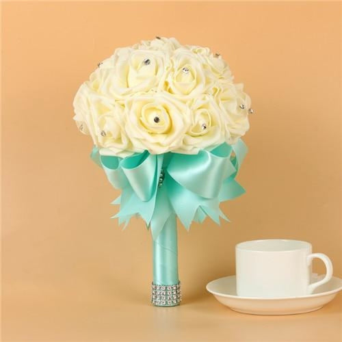 Artificial Flower Crystals Wedding Bouquets | Bridelily - Light Blue - wedding flowers