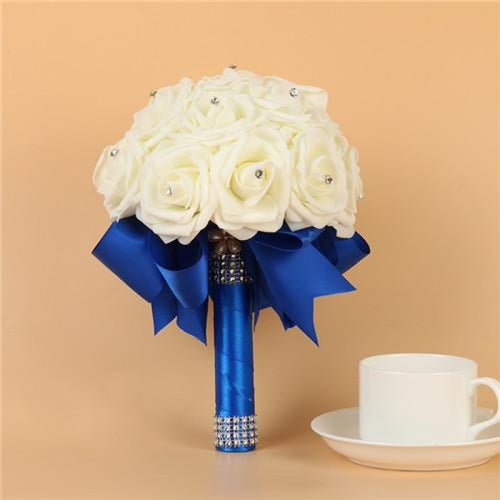 Artificial Flower Crystals Wedding Bouquets | Bridelily - Royal Blue - wedding flowers
