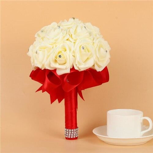 Artificial Flower Crystals Wedding Bouquets | Bridelily - Red - wedding flowers