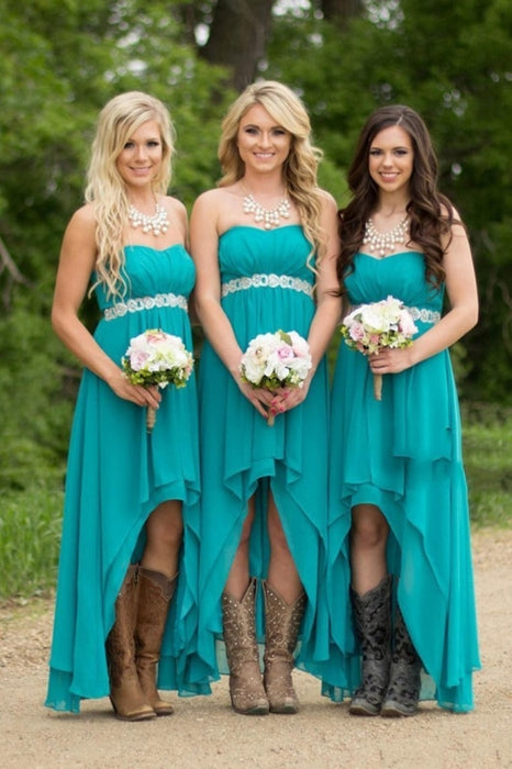 Asymmetrical Sweetheart Beaded Waistline Bridesmaid Dresses Chiffon - Bridesmaid Dresses