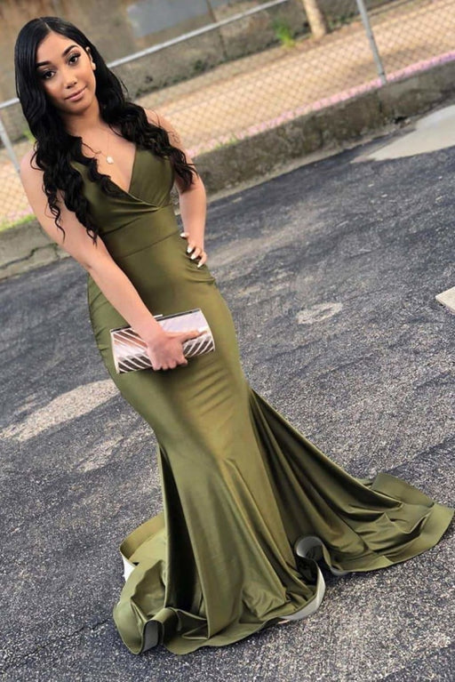 Attractive Green V Neck Floor Length Mermaid Prom Dresses - Prom Dresses