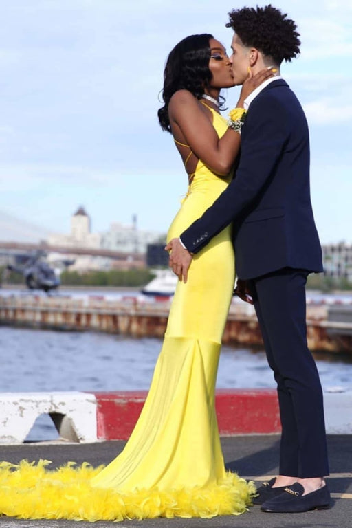 Attractive Yellow Mermaid Sleeveless Long Plus Size Prom Dresses - Prom Dresses