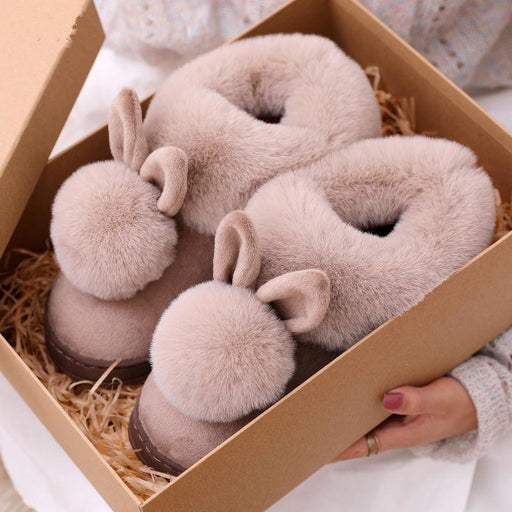 Autumn Winter Cotton Slippers Fur Rabbit Home Warm Thick Bottom Indoor Cotton Shoes Womens Slippers Cute Fluffy Cat Slippers - house
